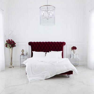 Белая фотостудия с кроватью